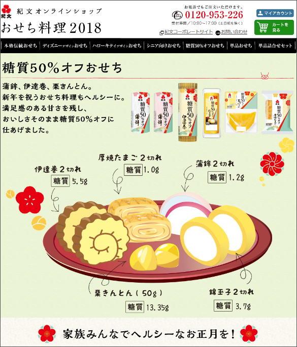 紀文オンラインショップ おせち料理2018 糖質50%オフおせち