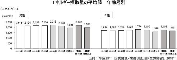 エネルギー摂取量の平均値 年齢層別