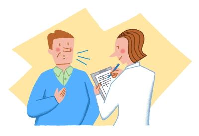 医師が患者さんに問診しているところ